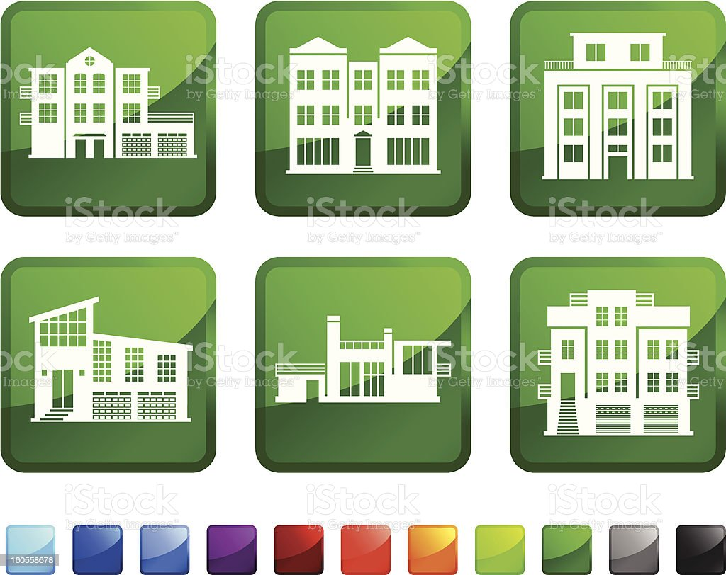 Houses and Condo royalty free vector icon set stickers royalty-free houses and condo royalty free vector icon set stickers stock vector art & more images of apartment