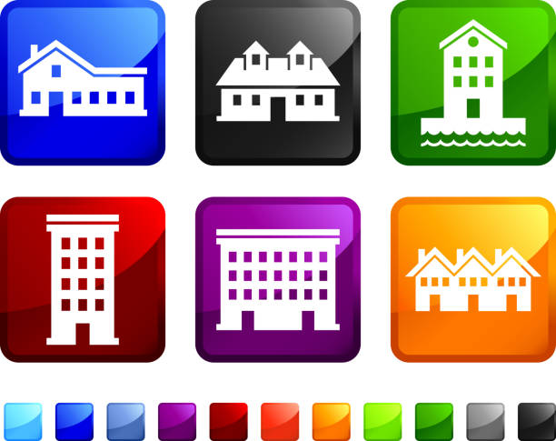 Houses and Homes royalty free vector icon set stickers Houses and Homes sticker set  waterfront stock illustrations