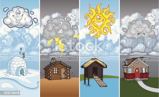 Different weather is shown over different houses.  A snow cloud is dropping snow over an igloo. A thundercloud is flashing lightning over a log cabin in the desert.  A bight sun is shining over a wood house on stilts in the islands.  A raincloud is dropping moisture on a brick home.