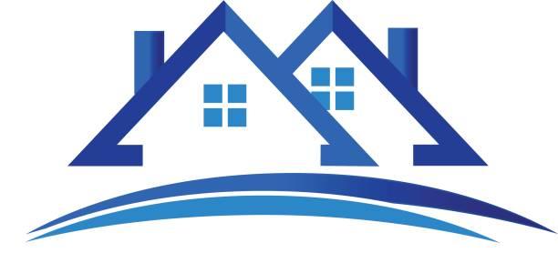 illustrations, cliparts, dessins animés et icônes de maisons appartements immobilier logo vecteur - logos immobilier