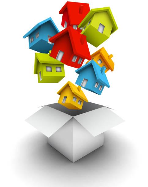 Häuser als Geschenk – Vektorgrafik