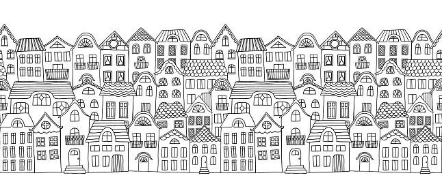 Hand drawn seamless horizontal banner of a city with cute little houses