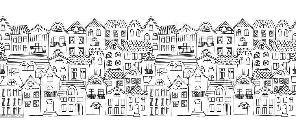 Houses Banner vector art illustration