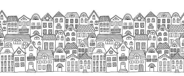 家バナー - 都市 モノクロ点のイラスト素材/クリップアート素材/マンガ素材/アイコン素材