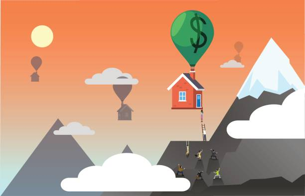 Houses being lifted up by money balloons vector art illustration