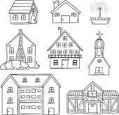 Houses collection in line art style, black and white