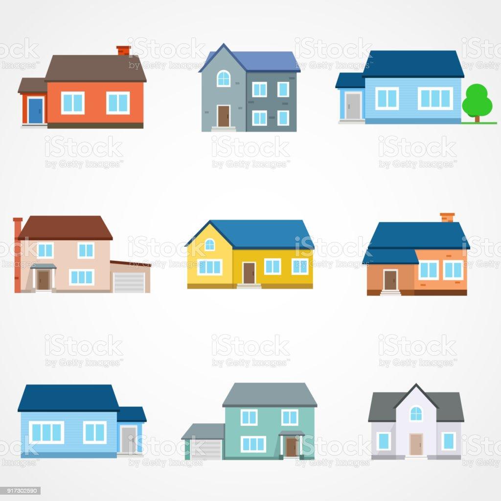 Häuser Außen Vektor Illustration Vorderansicht Mit Dach Moderne ...