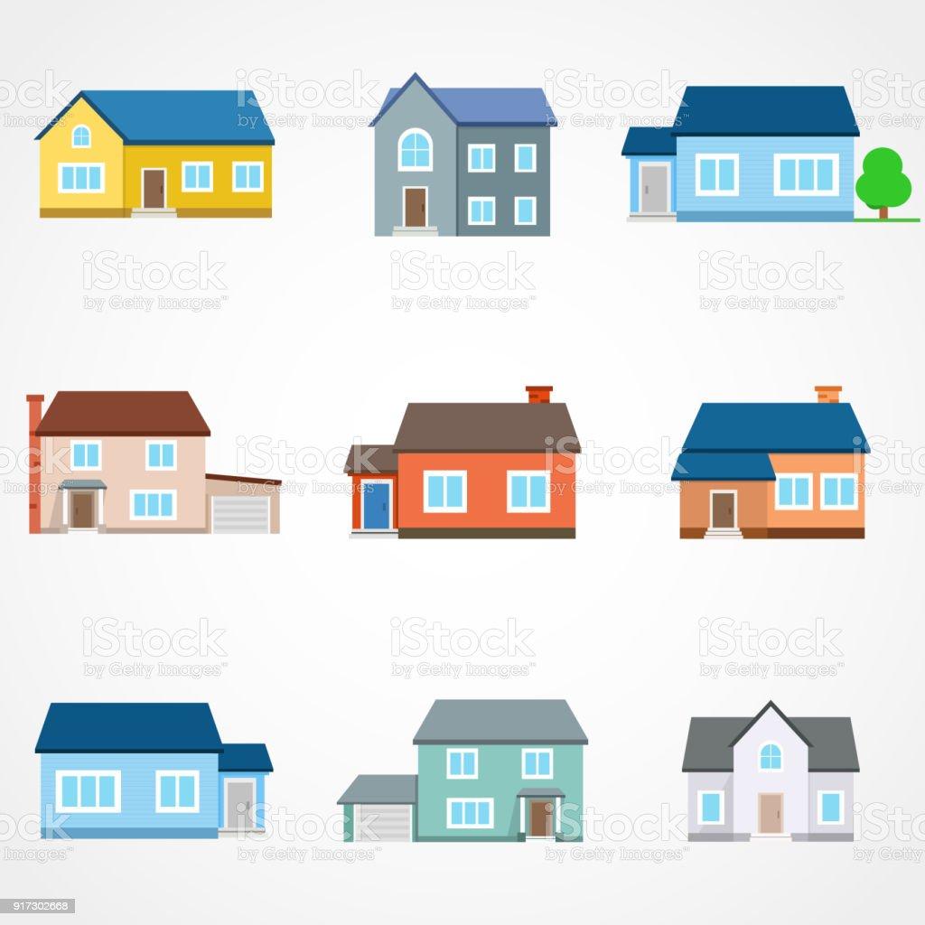 Awesome Häuser Außen Vektor Illustration Vorderansicht Mit Dach. Moderne.  Stadthaus Gebäude Wohnung.