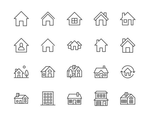 ilustrações, clipart, desenhos animados e ícones de ícones da linha lisa das casas ajustados. tecla da home page, edifício residencial, casa de campo do país, ilustrações do vetor do apartamento. delinear sinais simples para imóveis. pixel 64x64 perfeito. traços editáveis - edifício residencial