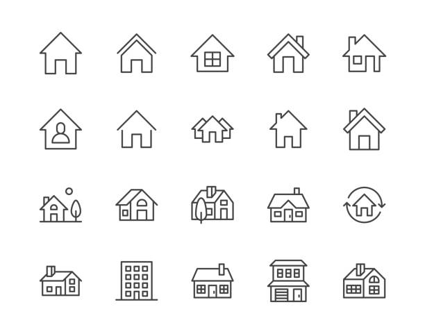 illustrazioni stock, clip art, cartoni animati e icone di tendenza di houses flat line icons set. home page button, residential building, country cottage, apartment vector illustrations. outline simple signs for real estate. pixel perfect 64x64. editable strokes - icona line