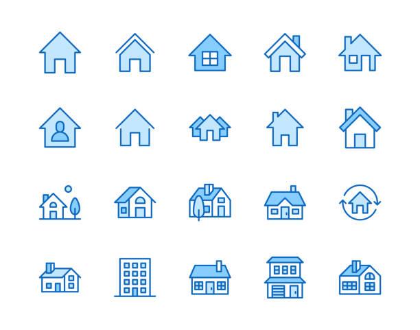 illustrazioni stock, clip art, cartoni animati e icone di tendenza di set di icone della linea piatta delle case. pulsante home page, edificio residenziale, cottage di campagna, illustrazioni vettoriali dell'appartamento. delineare semplici segni per gli immobili. pixel perfetto 64x64. tratti modificabili - casa