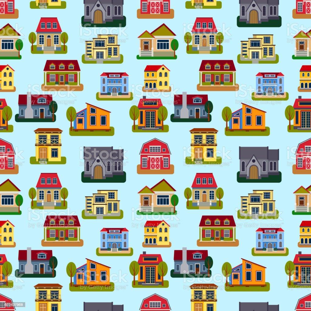 Houses front view vector illustration vector art illustration