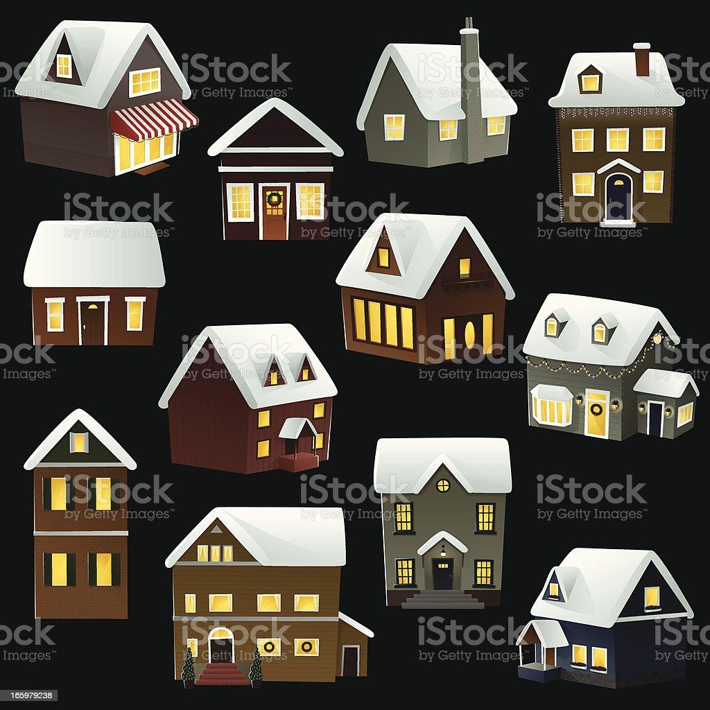 Houses Icon Set. EPS8 royalty-free stock vector art
