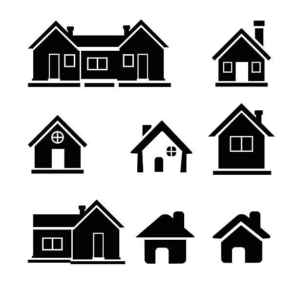 Houses icons set - Illustration vector art illustration