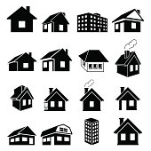 Houses vector icons set on white background