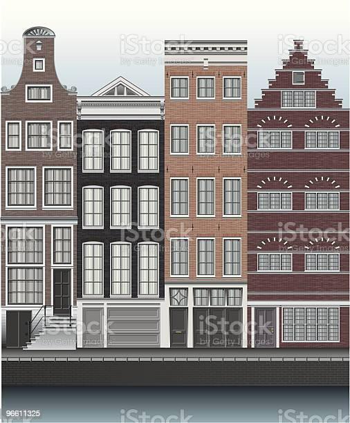 Houses In Amsterdam Along Canal-vektorgrafik och fler bilder på Amsterdam