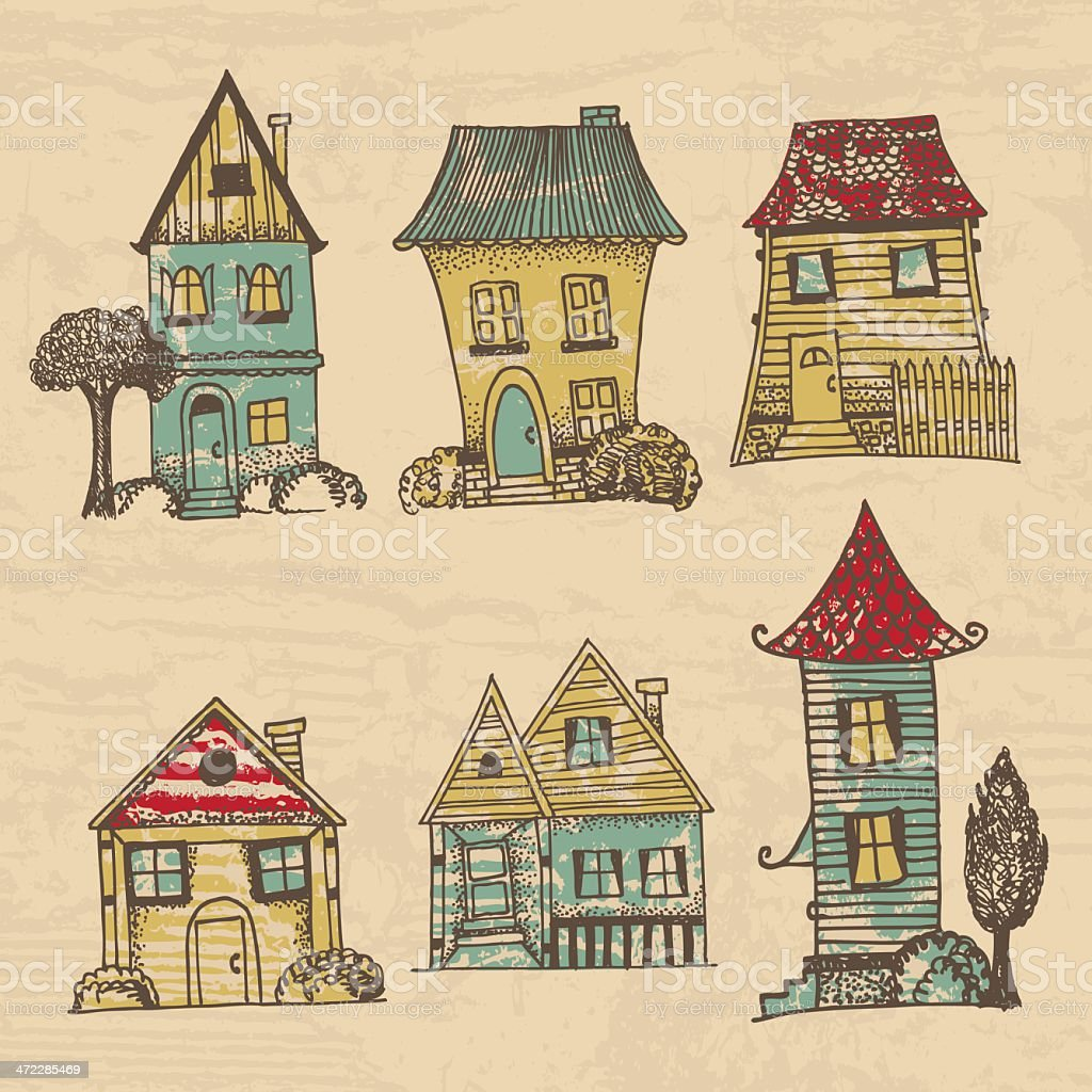 houses in different architectural styles stock vector art more