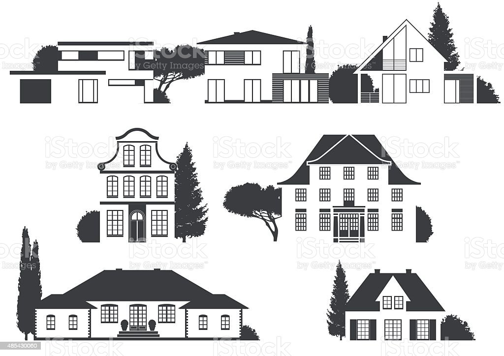houses in different architectural styles vector art illustration