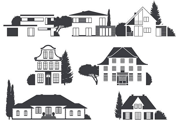 houses in different architectural styles a vector variety of homes in different architectural styles villa stock illustrations