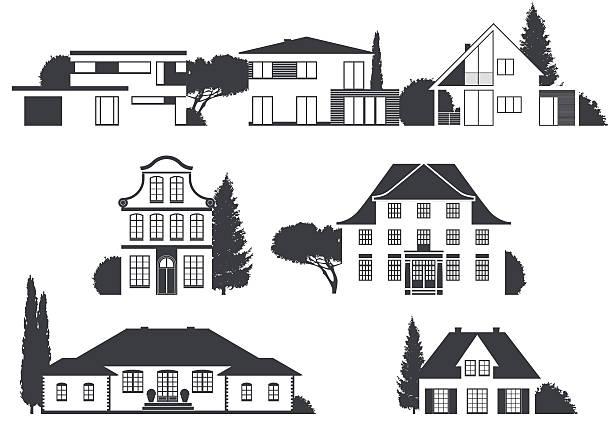 häuser in verschiedenen architektonischen stilen - villas stock-grafiken, -clipart, -cartoons und -symbole