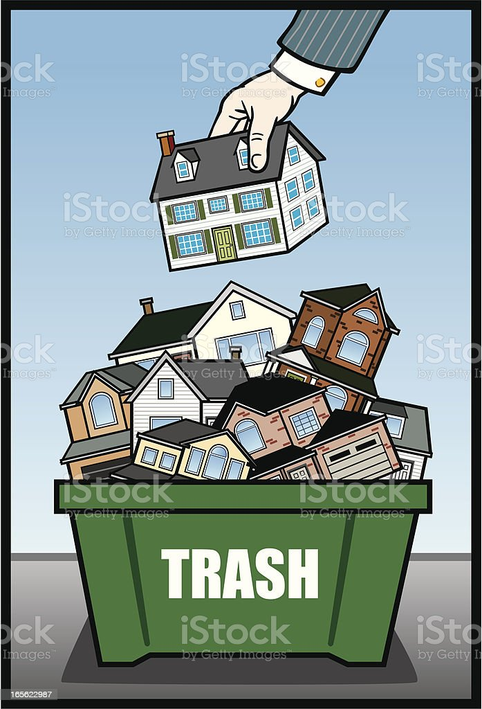 Houses in Trash vector art illustration