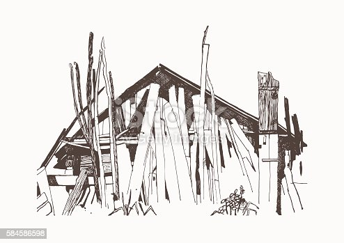 Rustic motif. Old wooden buildings. Vector drawn by hand.