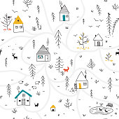 houses in winter forest seamless pattern with animals and colorful details