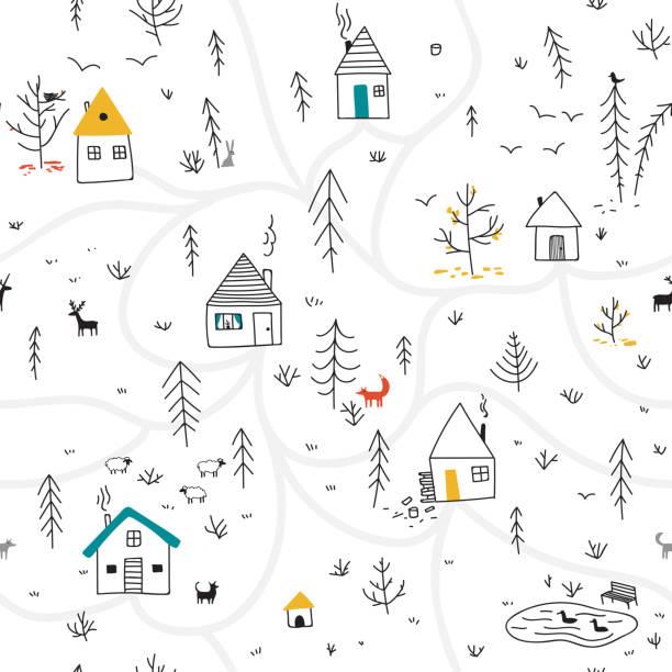 bildbanksillustrationer, clip art samt tecknat material och ikoner med hus i vinter skog sömlösa mönster med djur och färgglada detaljer - hund skog