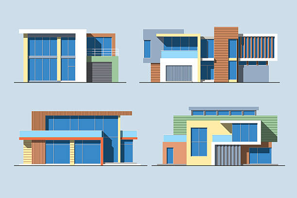 Houses linear 8 color Set of various design color vector flat style modern private residential houses isolated on blue background. Detailed graphic symbols and elements collection modern house stock illustrations