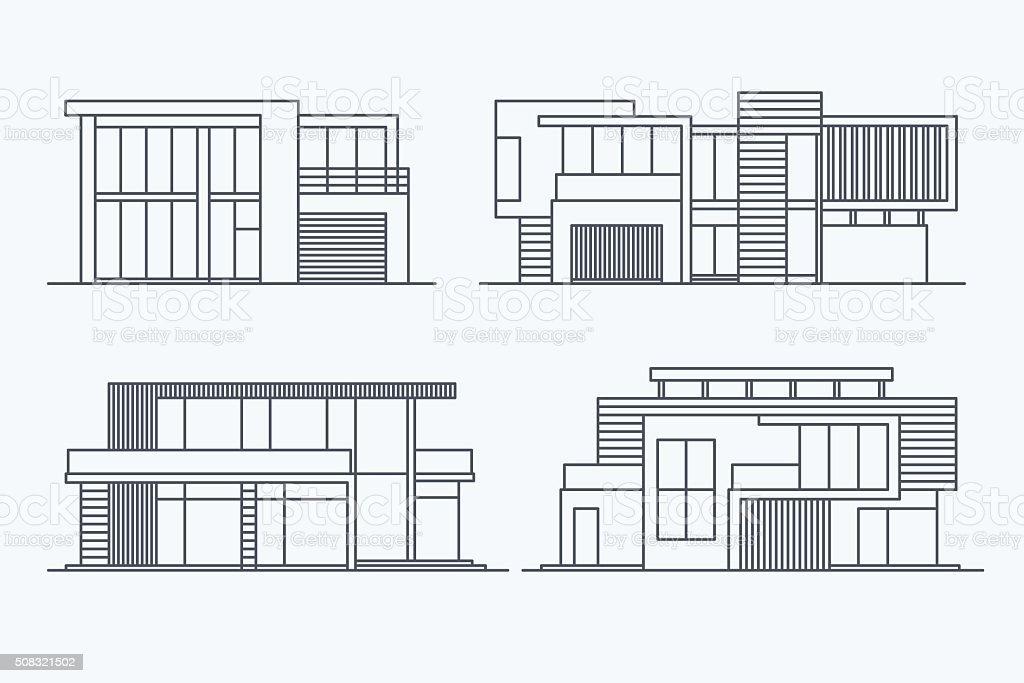 Houses linear 8 vector art illustration