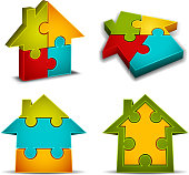 Vector collection of houses icons made of puzzle.