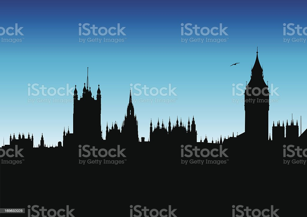 Houses of Parliament and Big Ben vector art illustration