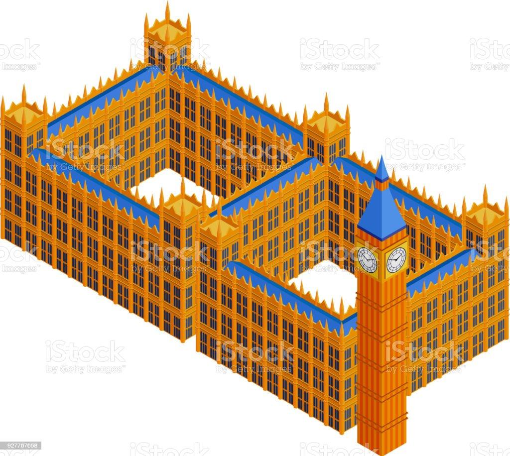 Houses of Parliament, London vector art illustration