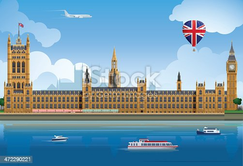 Palace of Westminster illustration, including Big Ben and the Victoria Tower. Layered and grouped for ease of use.  Download includes EPS8 file and hi-res JPEG.