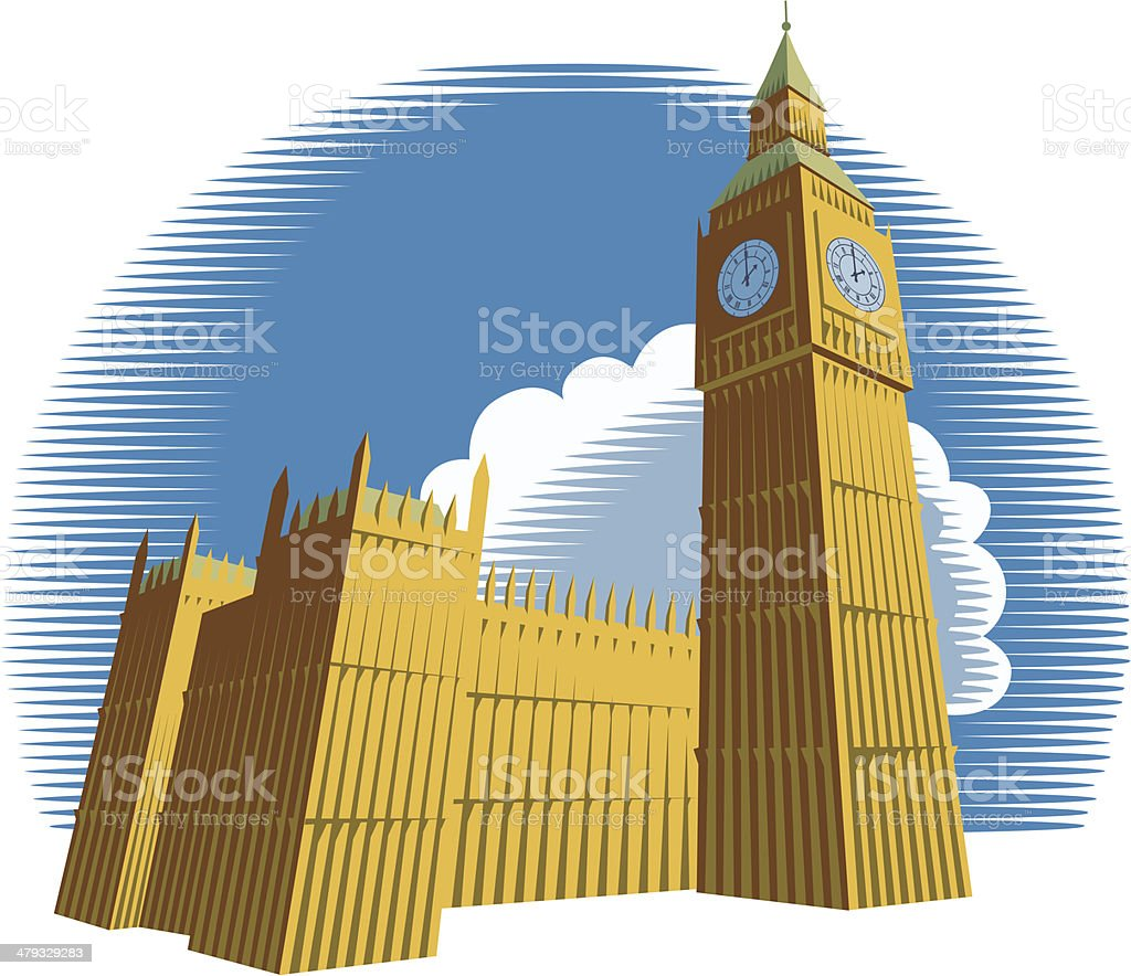Houses of Parliament with Big Ben royalty-free stock vector art
