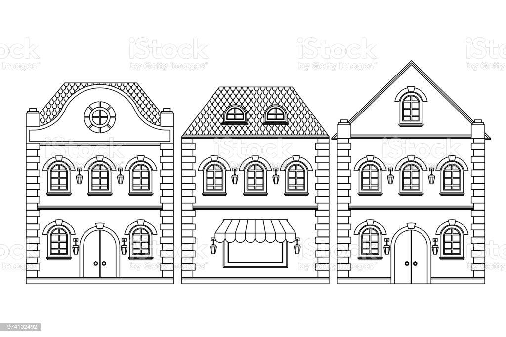 Verbazingwekkend Huizen Oude Europese Gebouwen Overzicht Tekening Stockvectorkunst BO-75