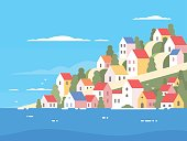 Houses on coast of Greece. Sunny sea shore. Vector illustration