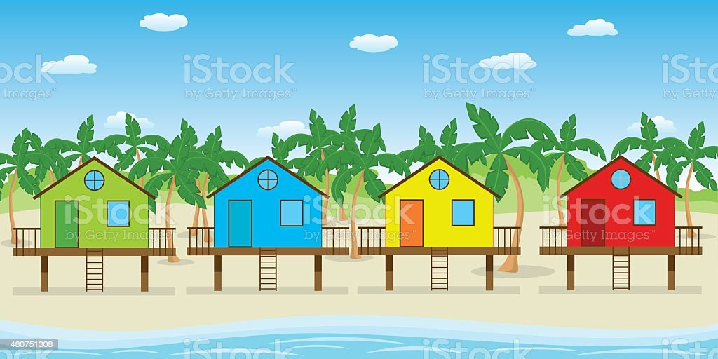 houses on the beach vector art illustration