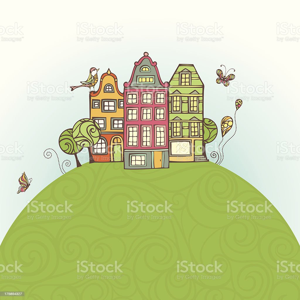 Houses on the Earth royalty-free stock vector art