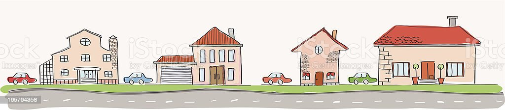 houses on the street vector art illustration