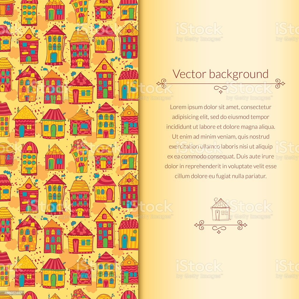 Houses pattern for template card royalty-free stock vector art