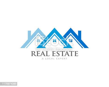 istock Houses Roof with Soffit and fascia Logo . Real estate concept 1175974390