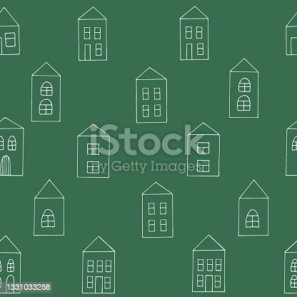 istock houses seamless pattern. hand drawn doodle. vector, scandinavian, minimalism. building, street. textiles, wrapping paper, wallpaper, background. 1331033258