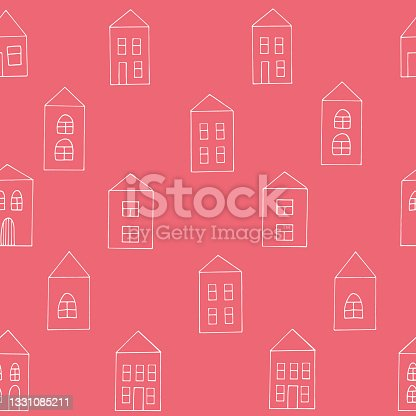 istock houses seamless pattern. hand drawn doodle. vector, scandinavian, minimalism. building, street. textiles, wrapping paper, wallpaper, background. 1331085211