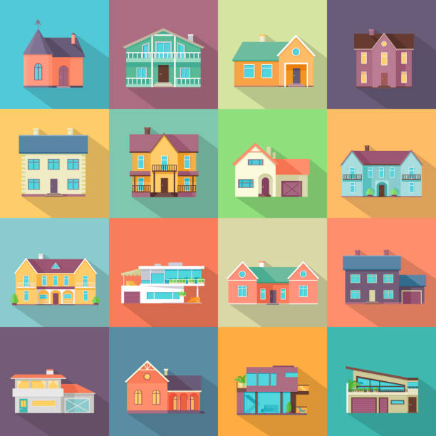 stockillustraties, clipart, cartoons en iconen met huizen set. architectuur variaties flat design. - buitenopname