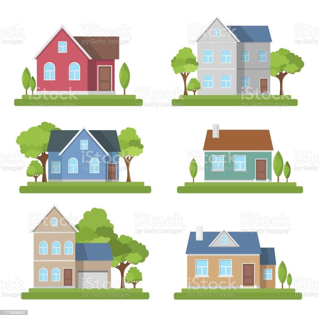 Houses set exterior modern illustration front apartment - Grafika wektorowa royalty-free (Architektura)