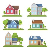 Houses set exterior modern illustration front apartment