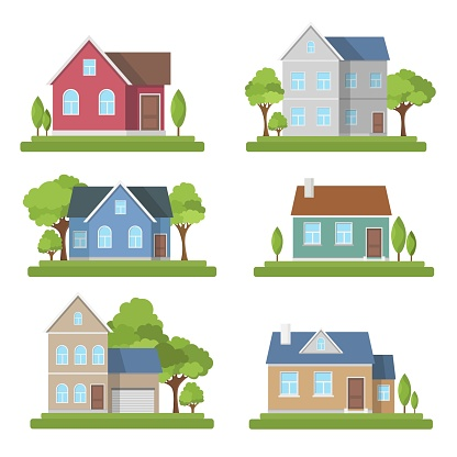 Houses Set Exterior Modern Illustration Front Apartment - Stockowe grafiki wektorowe i więcej obrazów Architektura