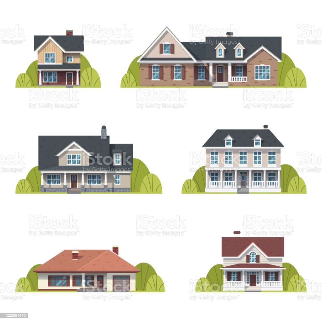 Houses Set Suburban American Houses Exterior Flat Design Front View With Roof And Some Trees Collection Of Classic And Modern American Houses Isolated On The White Background Vector Illustration Stock Illustration