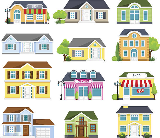 Houses Set vector art illustration
